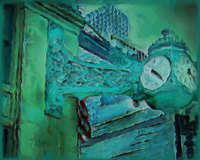 Green Beans Painting - Marshall Fields Clock Chicago by M Zimmerman
