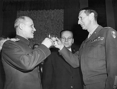 Big Wine Photograph - Marshall Koniev And Gen. Clark by Underwood Archives
