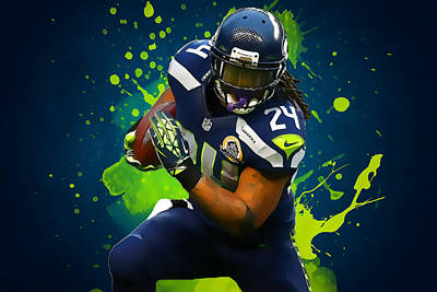 Marshawn Lynch Print by Semih Yurdabak