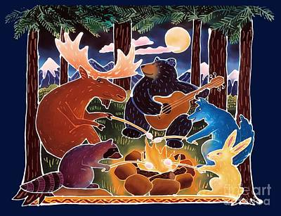 Raccoon Painting - Marshmallow Roast by Harriet Peck Taylor