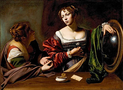 Caravaggio Painting - Martha And Mary Magdalen by Caravaggio