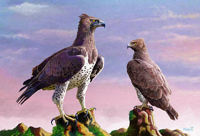 Fauna Painting - Martial Eagles by Anthony Mwangi
