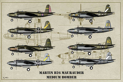 Digital Art - Martin B-26 Maurader Poster by Tommy Anderson