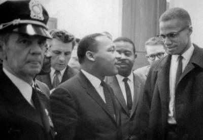 Civil Rights Photograph - Martin Luther King Jnr And Malcolm X by American School