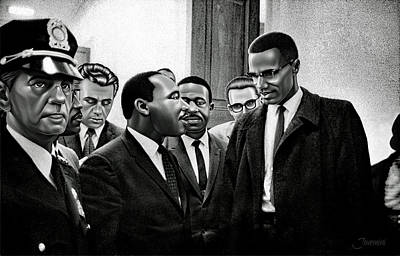 Martin Luther King Jr. Meets Malcolm X Painting In Hd Print by Jovemini ART