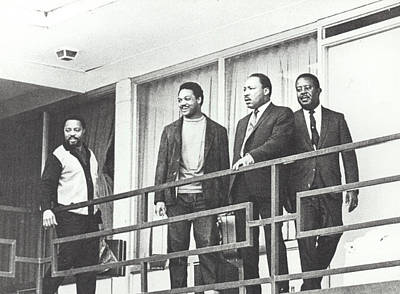 Martin Luther King Standing On The Balcony Of The Memphis Hotel Print by American School