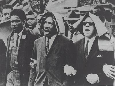 Martin Luther King Taking Part In A Civil Rights Protest March, Montgomery, Alabama Print by American School
