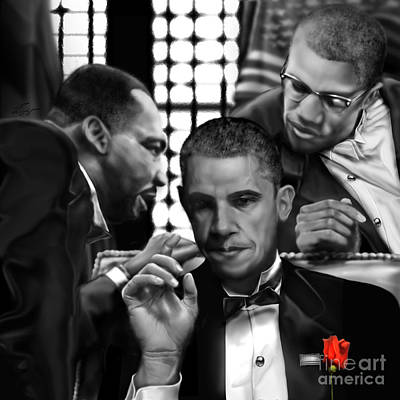 The Obamas Painting - Martin Malcolm Barack And The Red Rose by Reggie Duffie
