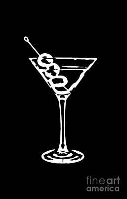 Martini Drawing - Martini Glass Tee White by Edward Fielding