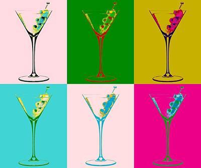 Martini Mixed Media - Martini Pop Art Panels by Dan Sproul