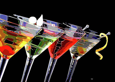 Booze Mixed Media - Martini Time by Charles Shoup