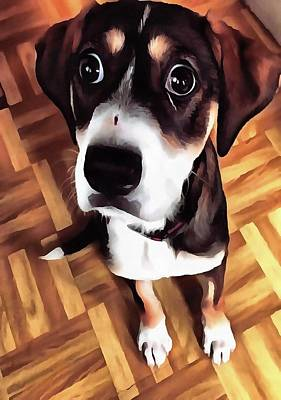 Marty The Soulful Eyed Dog  Print by Tracey Harrington-Simpson