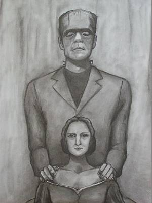 Frankenstein Drawing - Mary And Her Creation by Amber Stanford