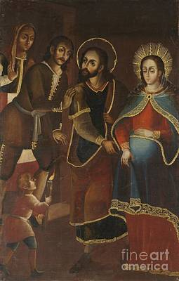18th Century Painting - Mary And Joseph Being Refused Entry To The Inn by Celestial Images