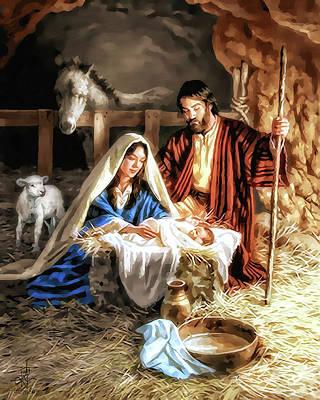 Manger Digital Art - Mary And Joseph by Pennie  McCracken