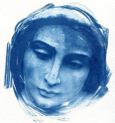 Blessed Virgin Photograph - Mary Cyanotype  Blessed Virgin Mother Of God by Jane Linders