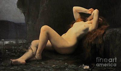 Prostitutes Painting - Mary Magdalene In A Grotto by Jules Joseph Lefebvre
