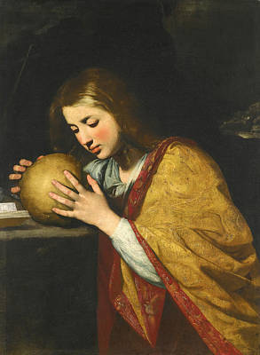 Mary Magdalene Painting - Mary Magdalene In Meditation by Attributed to Massimo Stanzione