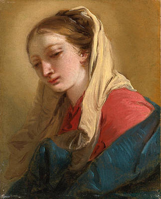 Mary Magdalene Painting - Mary Magdalene In Three-quarter View Veiled In A White Cloth by Giovanni Battista Tiepolo