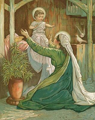 Virgin Mary Drawing - Mary Playing With Jesus by John Lawson