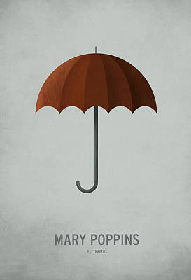 Minimalist Digital Art - Mary Poppins by Christian Jackson