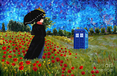 Fandom Drawing - Mary Poppins With Tardis by Three Second