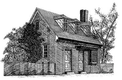 Restoration Drawing - Mary Stith House Duke Of Gloucester Street Historic District City Of Williamsburg Virginia by Dawn Boyer