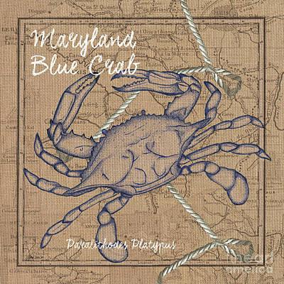 Message Mixed Media - Maryland Blue Crab by Debbie DeWitt