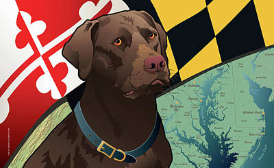 Chocolate Labrador Retriever Digital Art - Maryland Chocolate Lab by Joe Barsin