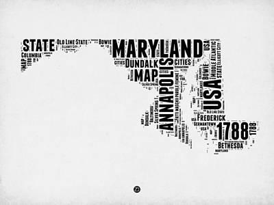 America Mixed Media - Maryland Word Cloud 2 by Naxart Studio