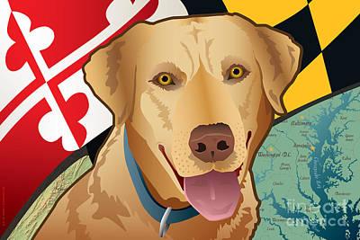 Labrador Retriever Digital Art - Maryland Yellow Lab by Joe Barsin