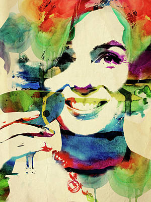 Old Paper Digital Art - Marilyn And Her Drink by Mihaela Pater