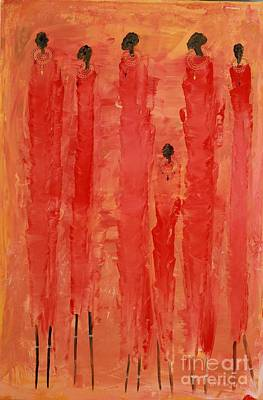 Painting - Masai Girls 3 by Abu Artist