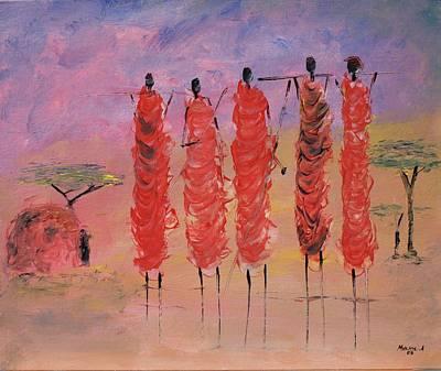 Painting - Masai Village by Abu Artist