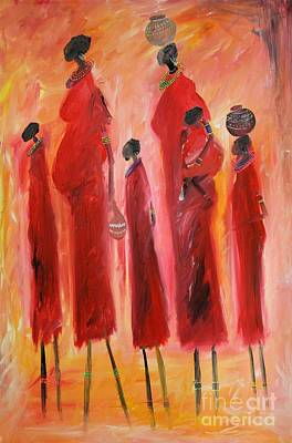 Painting - Masai With Kids by Abu Artist