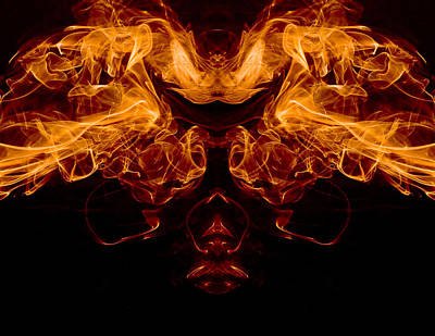 Mask Of Fire Print by Val Black Russian Tourchin