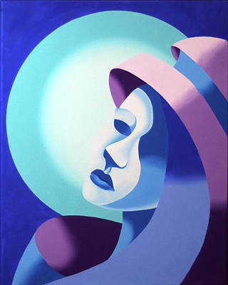 Mark Webster Painting - Mask On The Moon - Abstract Oil Painting by Mark Webster