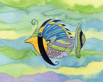 Fish Illustration Painting - Masked Fish by Amy Kirkpatrick