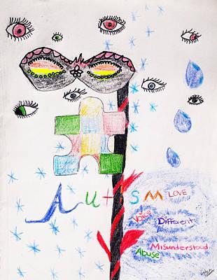 Tears Drawing - Masking Autism by Emily Richardson