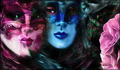 Mask Photograph - Masks And Pink Camellias  by Daniel Arrhakis