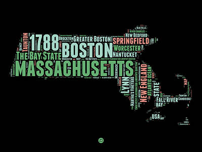 Boston Mixed Media - Massachusetts Word Cloud Map 1 by Naxart Studio