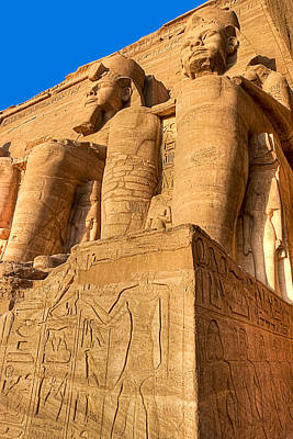 Massive Statues Of Ramses The Great At Abu Simbel Print by Mark E Tisdale