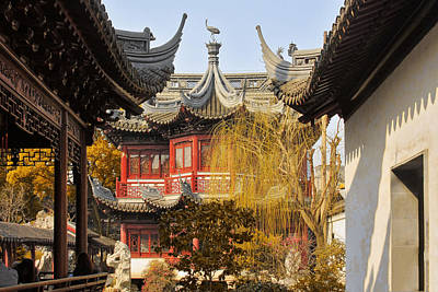 Massive Upturned Eaves - Yuyuan Garden Shanghai China Print by Christine Till