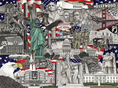 Capitol Building Drawing - Masterpiece America by Omoro Rahim
