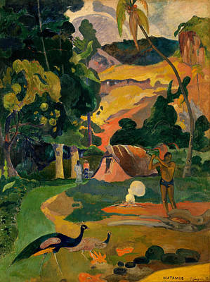 Rustic Painting - Matamoe, Landscape With Peacocks by Paul Gauguin