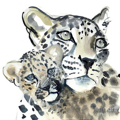 Leopard Drawing - Maternal Bond by Mark Adlington