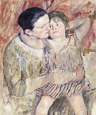 Women Together Painting - Mathilde Holding A Child by Mary Stevenson Cassatt