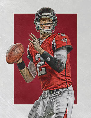 Falcon Mixed Media - Matt Ryan Atlanta Falcons Art by Joe Hamilton