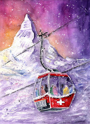 Snowscape Painting - Matterhorn Authentic by Miki De Goodaboom