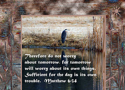 Heron Mixed Media - Matthew 6 by Cat Culpepper